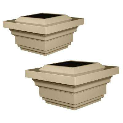 Regal 4 in. x 4 in. Outdoor Tan Vinyl LED Solar Post Cap (2-Pack)