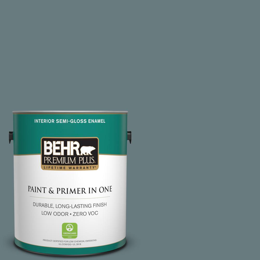 1-gal. #N440-5 Coney Island Semi-Gloss Enamel Interior Paint