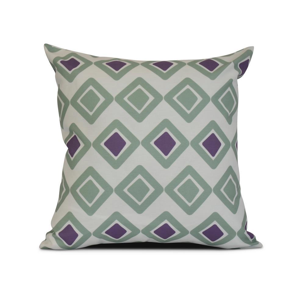 16 in. Green Diamond Jive Too Geometric Print Pillow PG824GR15-16