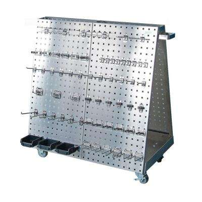 Stainless Steel Tool Cart with Anodized Aluminum Frame 60-Piece Stainless Steel LocHook Assortment 3 Hanging Bins