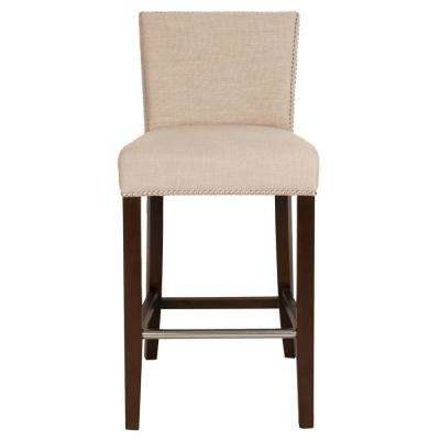 Soho 30 in. Almond Fabric, Espresso Bar Stool