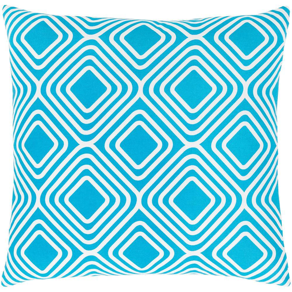 Darran Blue Geometric Polyester 22 in. x 22 in. Throw Pillow