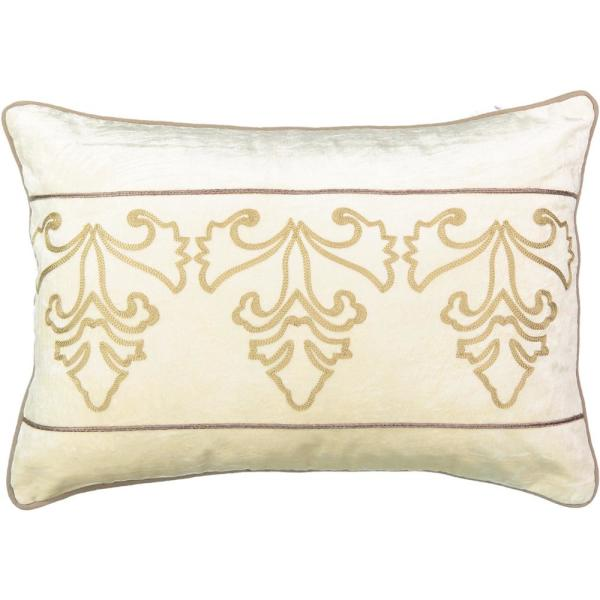 Sandrine Creme Geometric Polyester 14 in. x 20 in. Throw Pillow