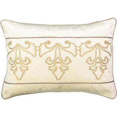 Sandrine Polyester Embroidered Crème Decorative Pillow