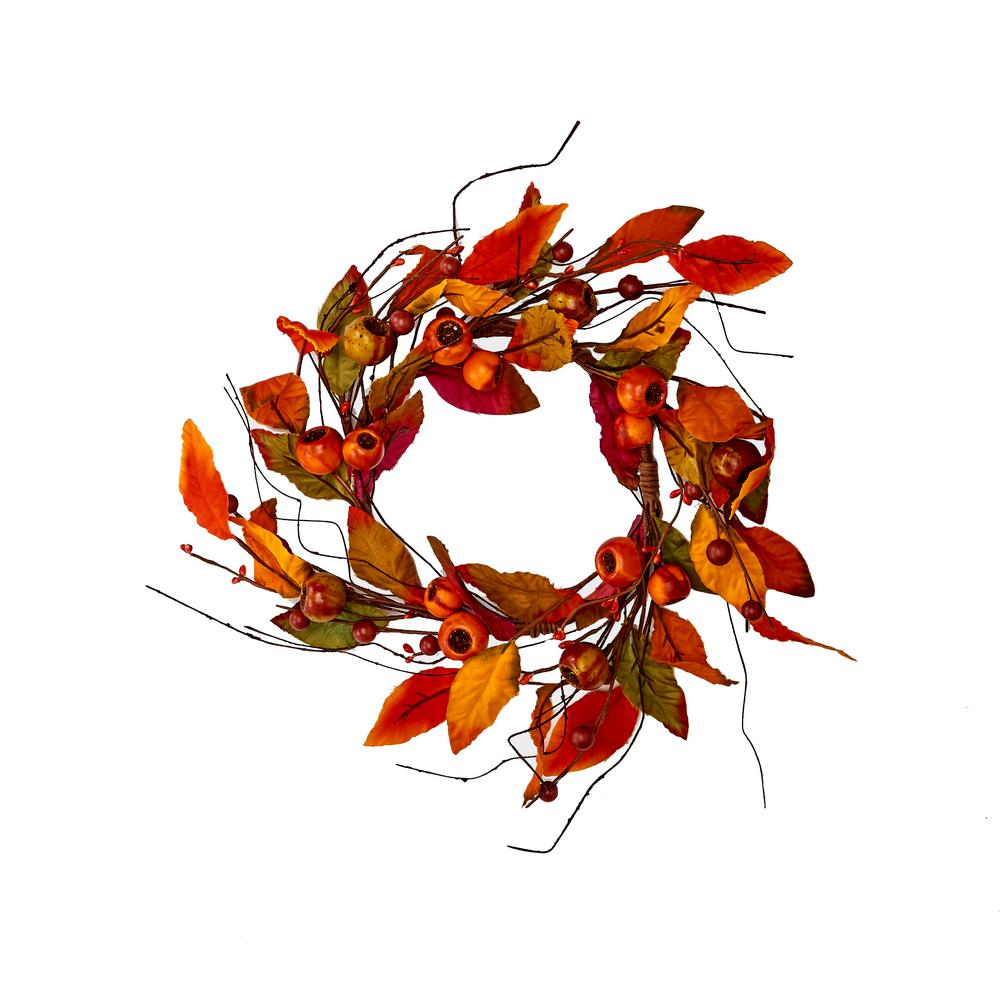 Worth Imports 12 in. Fall Leaf and Pod Candle Ring (Set of 2)