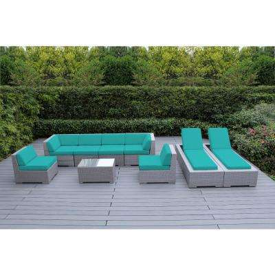 Gray 9-Piece Wicker Patio Combo Conversation Set with Spuncrylic Turquoise Cushions