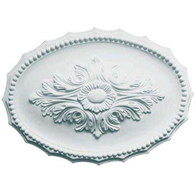 17 in. x 12 in. x 1-5/8 in. Leaf Polyurethane Oval Ceiling Medallion