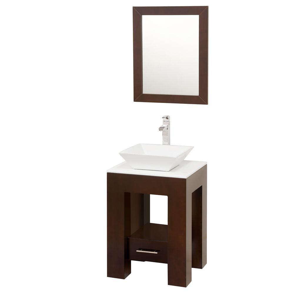Wyndham Collection Amanda 22-1/4 in. Vanity in Espresso with Glass Vanity Top in White and Mirror