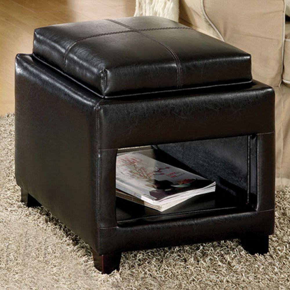 Home Decorators Collection Manning Leatherette Ottoman with Flip Top Tray/Cushion in Espresso