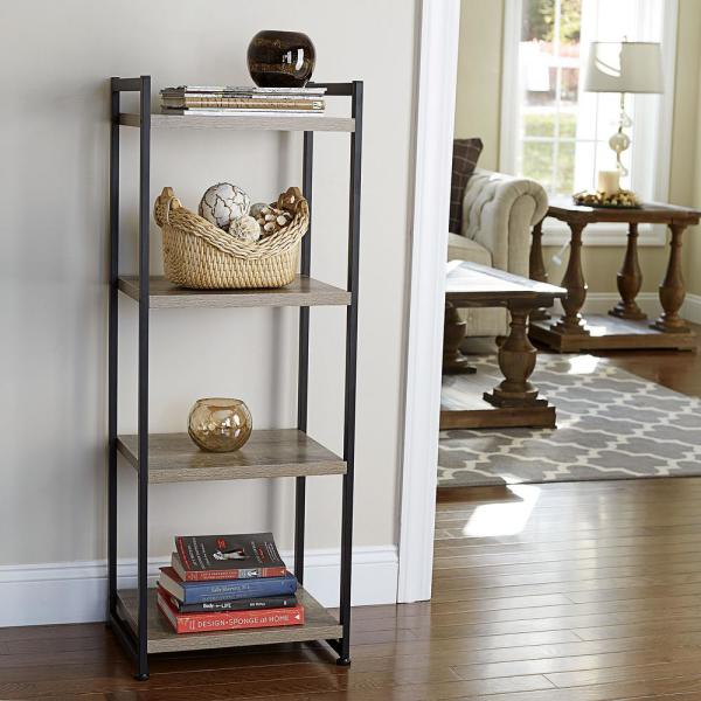 Household Essentials Ashwood 4-Shelf Storage Tower in Light Wood