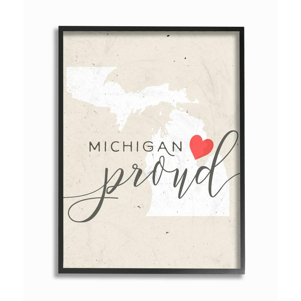 Michigan Proud With Heart By Daphne Polselli Wood Framed Wall Art