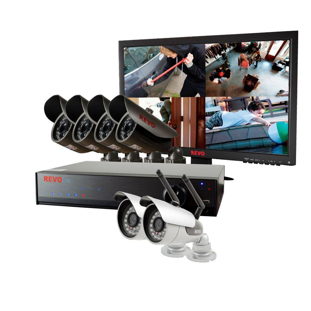 Revo Lite 8-Channel 1TB 960H DVR Surveillance System with (2) Wireless Cameras, 4 Wired Cameras and Monitor