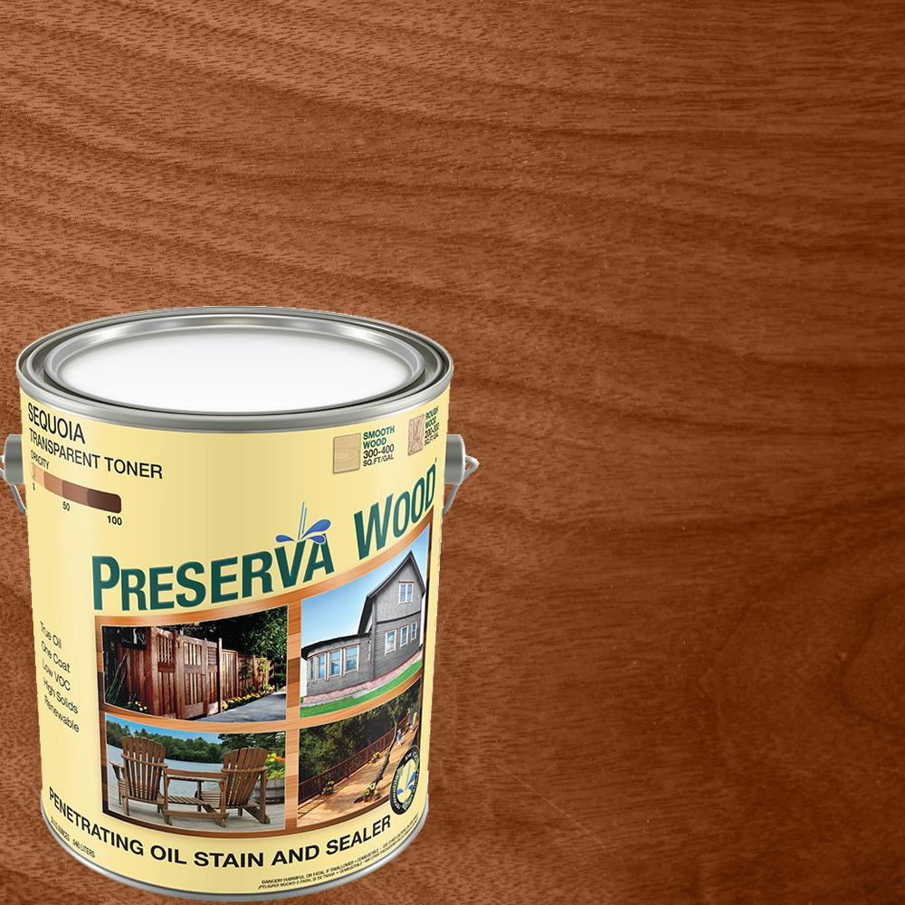Preserva Wood 1 Gal Oil Based Sequoia Penetrating Exterior Stain And Sealer 40103 The Home Depot