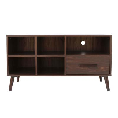 44 in. Dark Walnut Wood TV Console with 1 Drawer Fits TVs Up to 41 in. with Cable Management