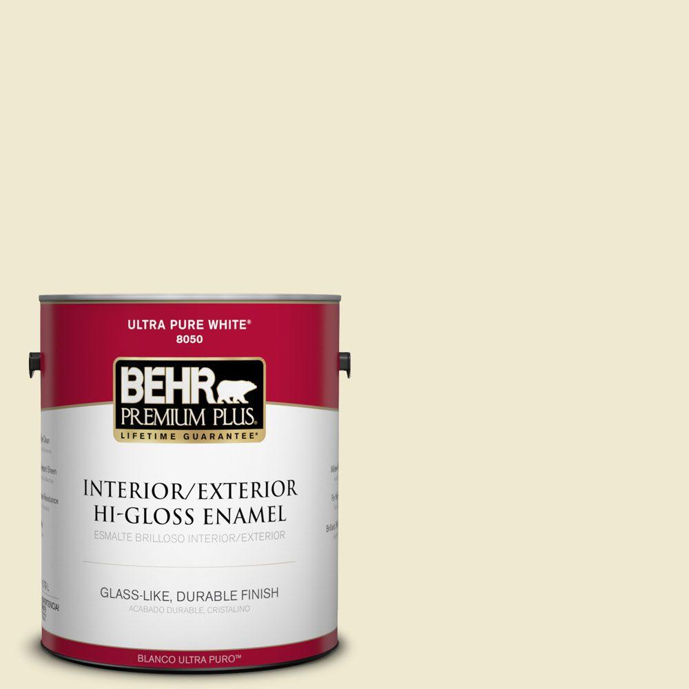 BEHR Premium Plus 1-gal. #M340-2 Floating Lily Hi-Gloss Enamel Interior/Exterior Paint