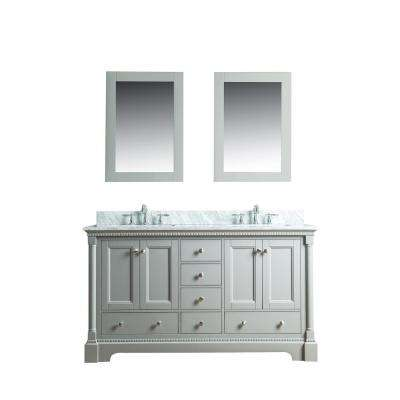 Olivia 60 in. W x 22 in. D Vanity in Gray with Marble Vanity Top in White with White Basin