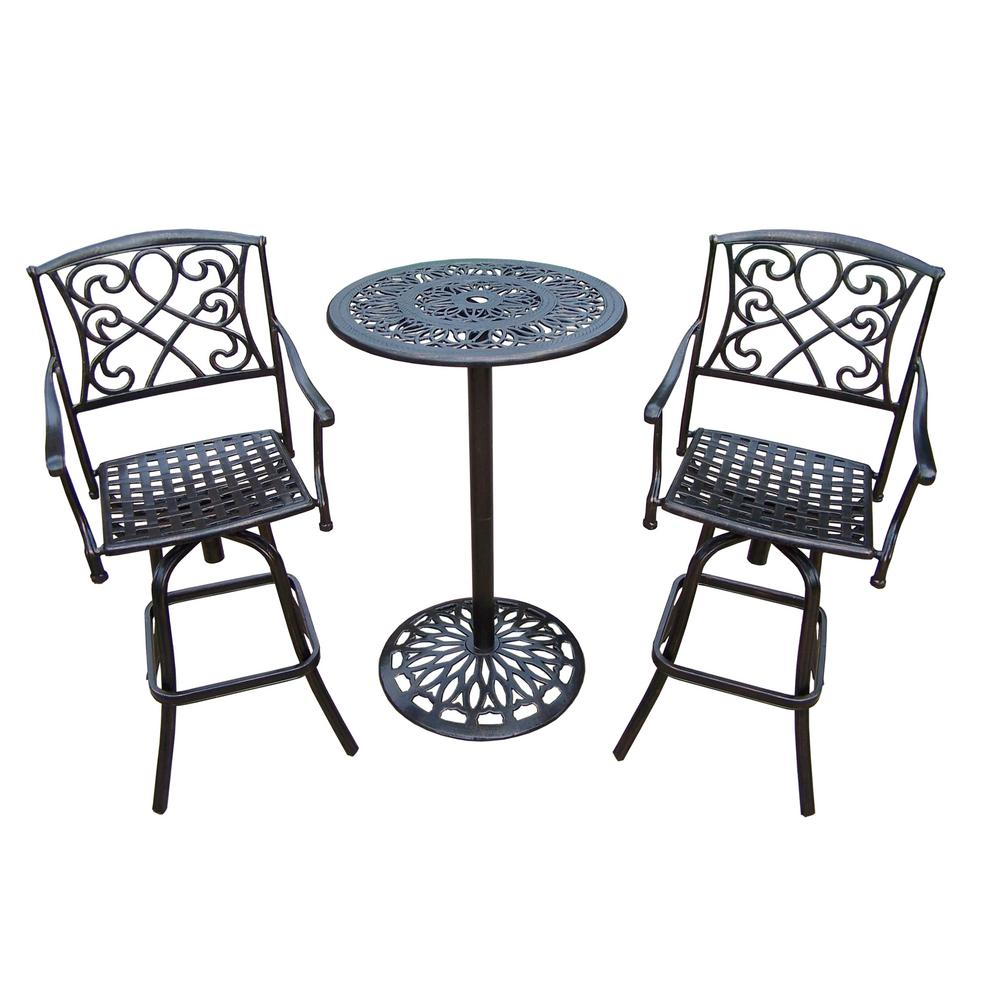 Grace 3-Piece Metal Outdoor Bar Height Dining Set