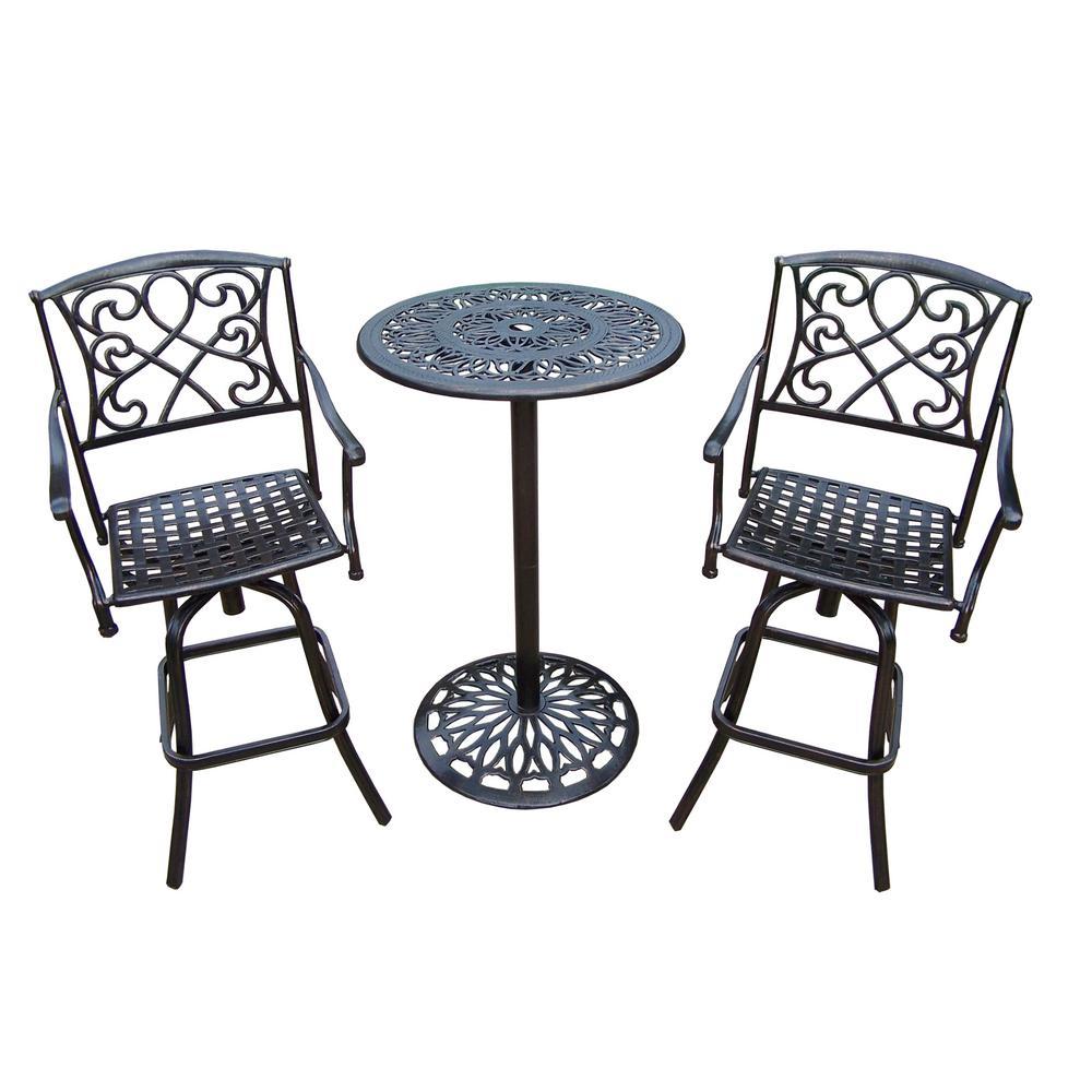 Sensational Grace 3 Piece Metal Outdoor Bar Height Dining Set Uwap Interior Chair Design Uwaporg
