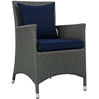 Sojourn Patio Wicker Outdoor Dining Chair with Sunbrella Canvas Navy Cushions