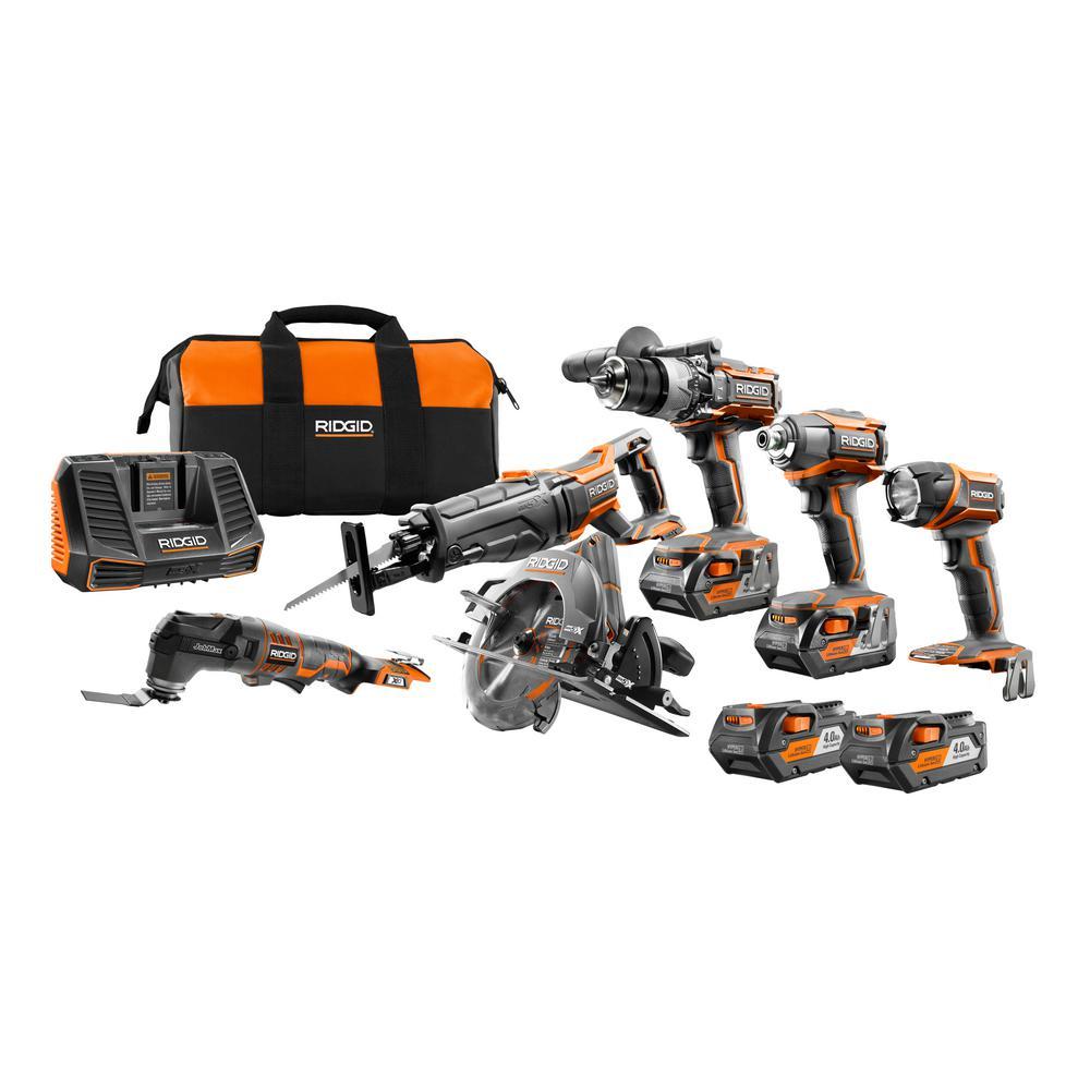 GEN5X 18-Volt 5 Piece Combo Kit with BONUS (2) Pack 18-Volt 4.0 Ah Batteries & 18-Volt JobMax Console