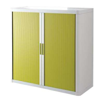 Paperflow easyOffice White and Green 41 in. Tall Storage Cabinet with 2-Shelves