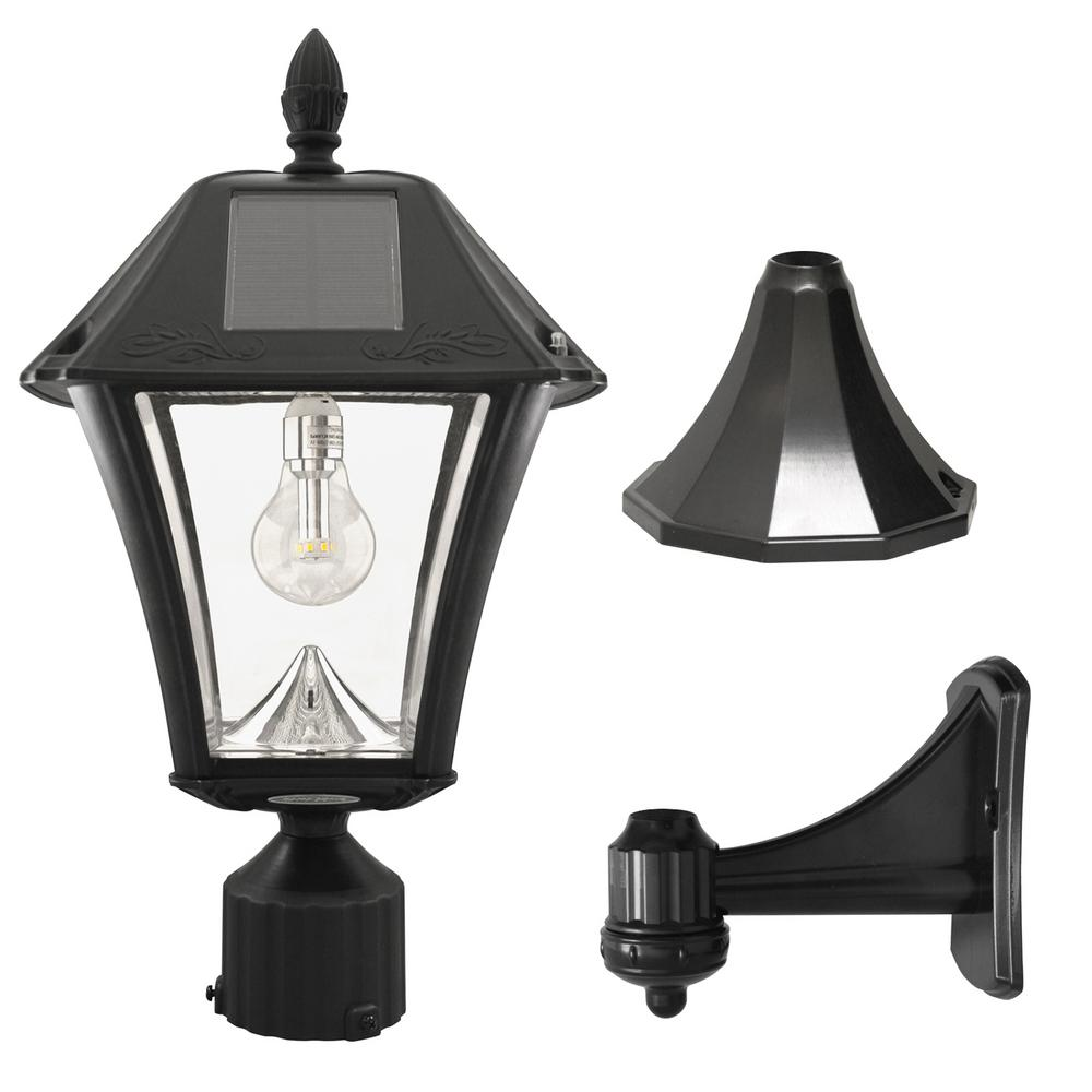 GamaSonic Gama Sonic Baytown II Bulb 1-Light Black LED Outdoor Solar Post/Wall Light with GS Light Bulb Warm-White