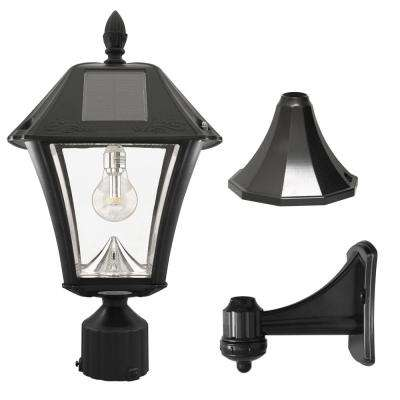 Baytown II Bulb Outdoor Black Resin Solar Post/Wall Light with GS Light Bulb Warm-White LED