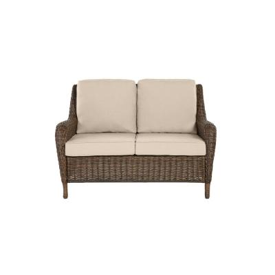 Cambridge Brown Wicker Outdoor Patio Loveseat with Sunbrella Beige Tan Cushions