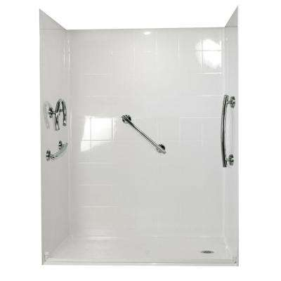 Freedom 31 in. x 60 in. x 77-1/2 in. Barrier Free Roll-In Shower Kit in White with Right Drain