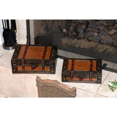 Trademark innovations decorative baskets boxes decorative vintage style wood decorative suitcases set of 2 publicscrutiny Image collections