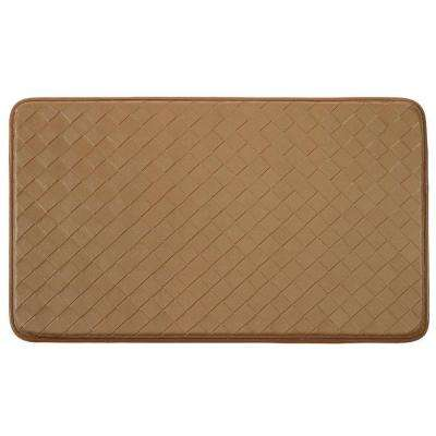 Diamond Weave Faux-Leather Tan 18 in. x 30 in. Comfort Kitchen Mat