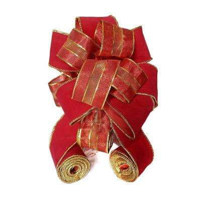 11 in. Ribbon Tree Topper in Red
