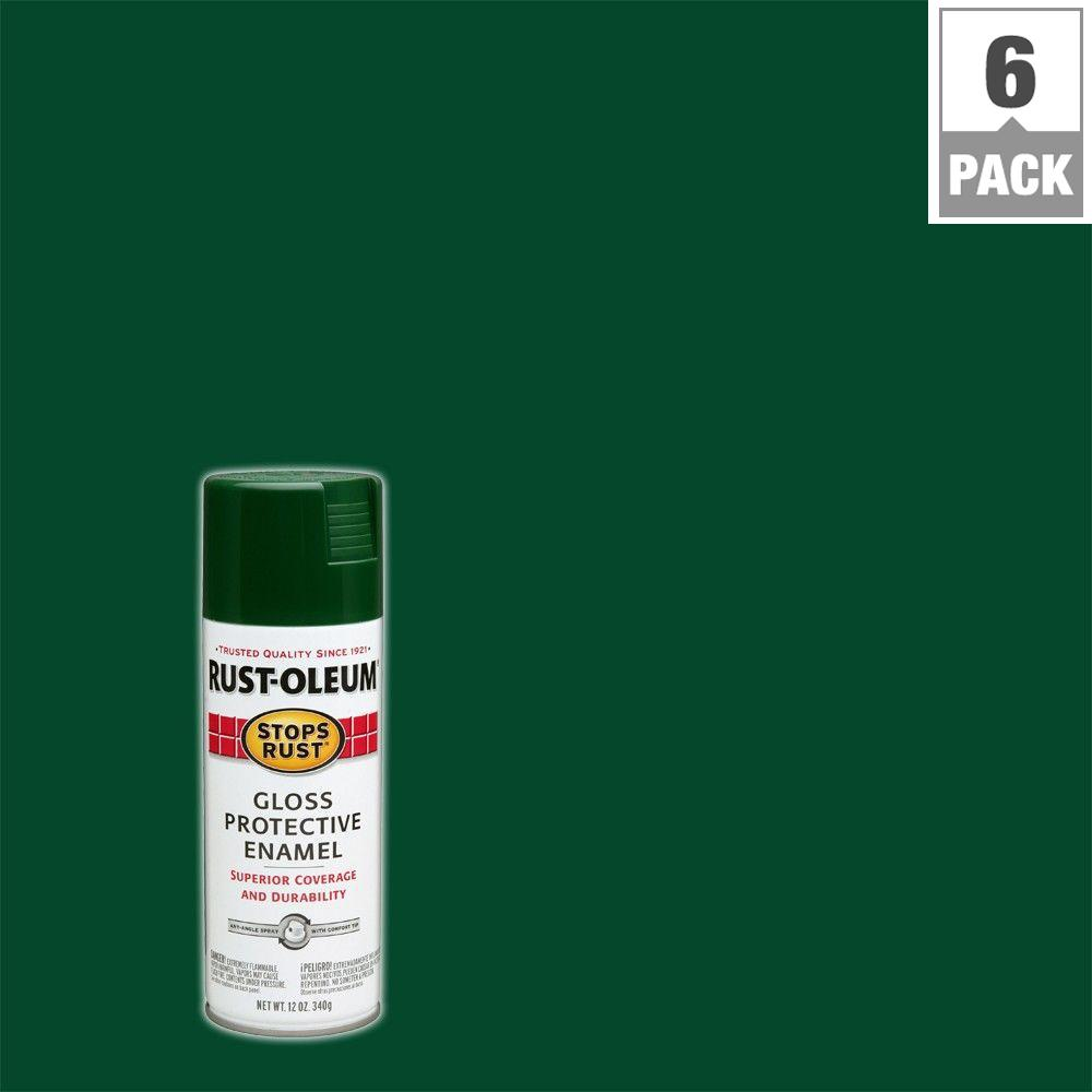 12 oz. Protective Enamel Gloss Hunter Green Spray Paint (6-Pack)