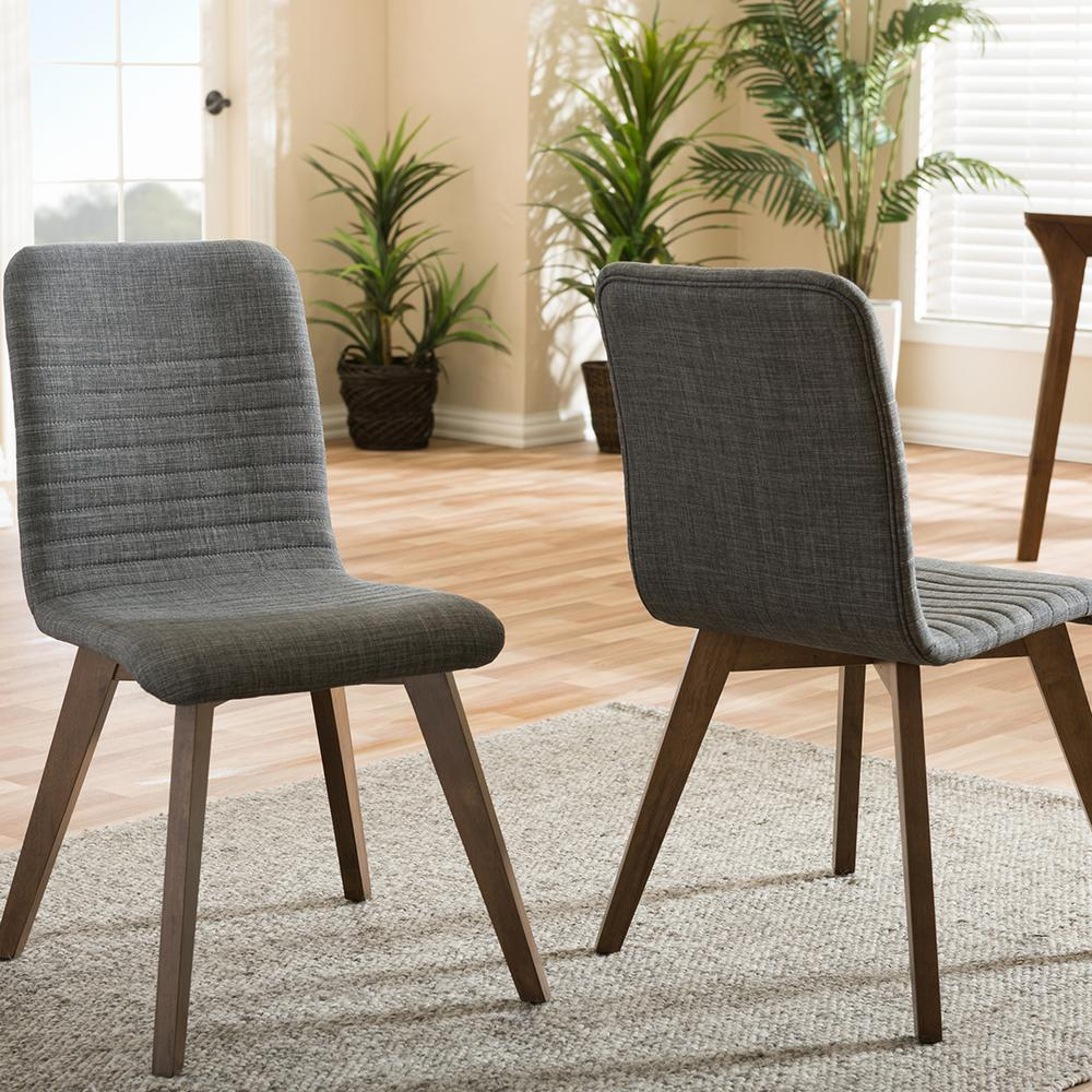Sugar Gray Fabric Upholstered Dining Chairs (Set of 2)