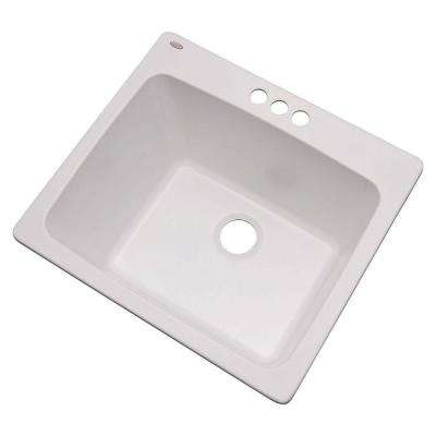 Wakefield Dual Mount Natural Stone Composite 25 in. 3-Hole Single Bowl Utility Sink in White
