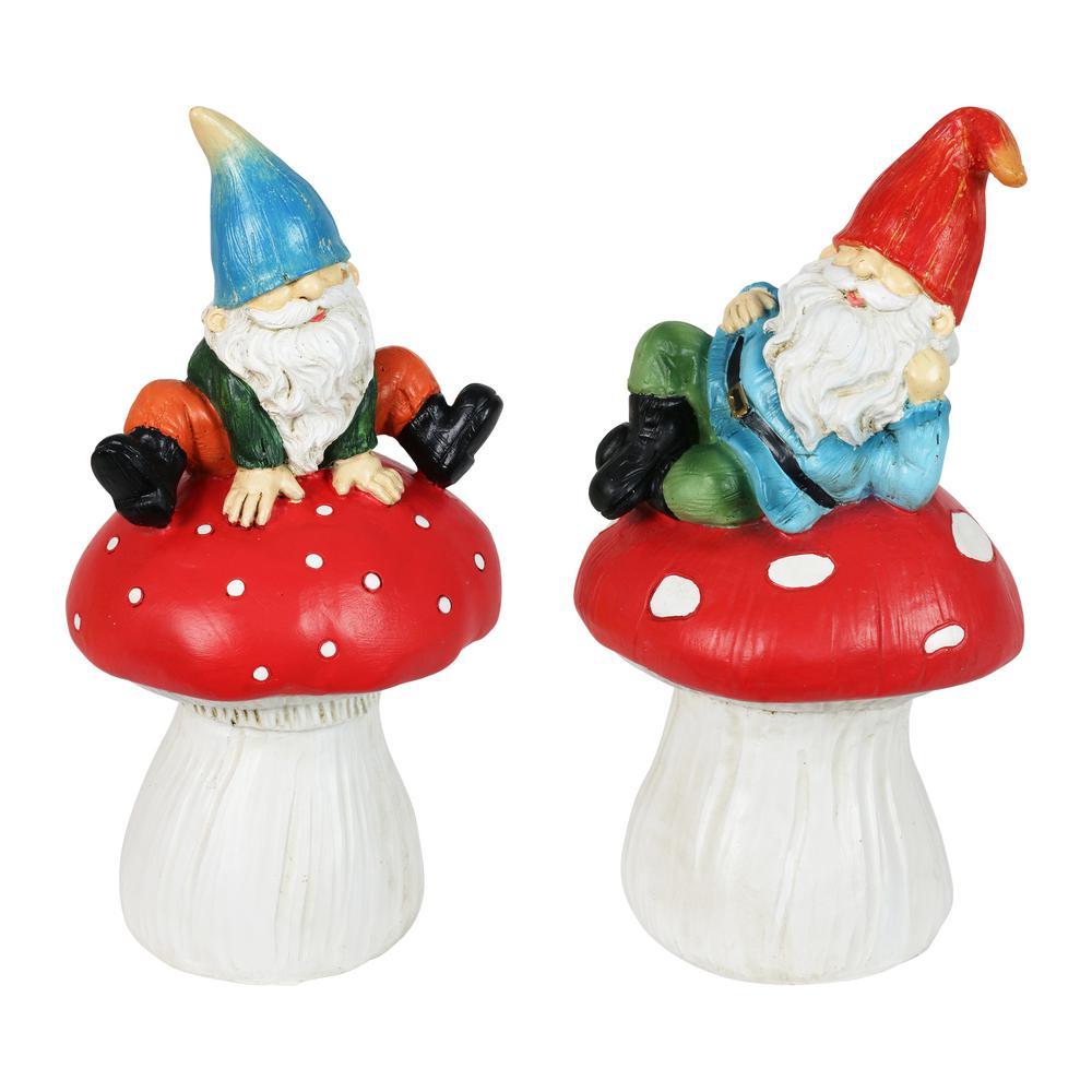 Mushroom Gnomes Garden Statue (2-Pack)