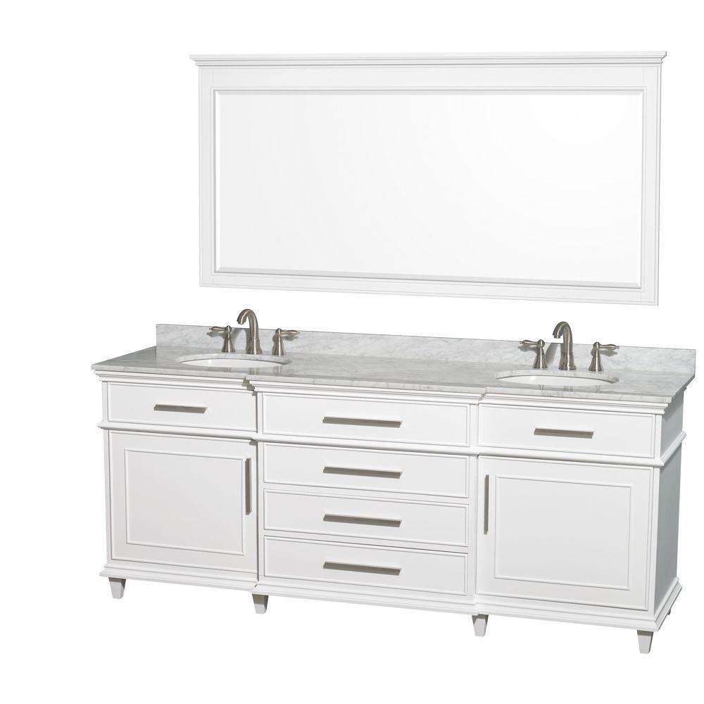 Berkeley 80 in. Double Vanity in White with Marble Vanity Top
