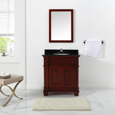 Foxworth 31 in. W x 21 in. D Vanity in Dark Cherry with Granite Vanity Top in Black with White Sink