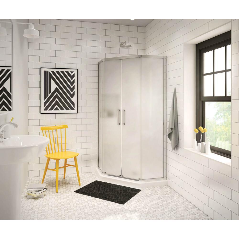 Radia 40 in. x 40 in. x 71-1/2 in. Frameless Neo-Angle Sliding Shower Door with Mistelite Glass in Chrome