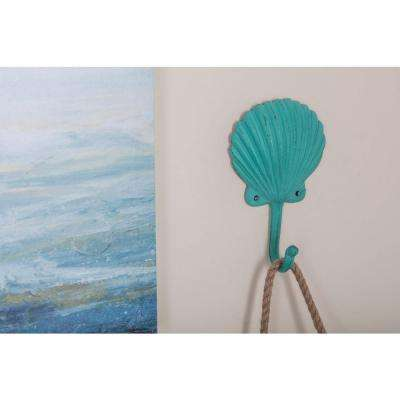 5 in. x 7 in. Coastal-Living Iron SeaShell Wall Hooks in Distressed Finish (4-Pack)