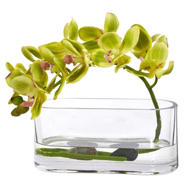 Nearly Natural Phalaenopsis Orchid Artificial Arrangement in Glass Vase 1950-GR