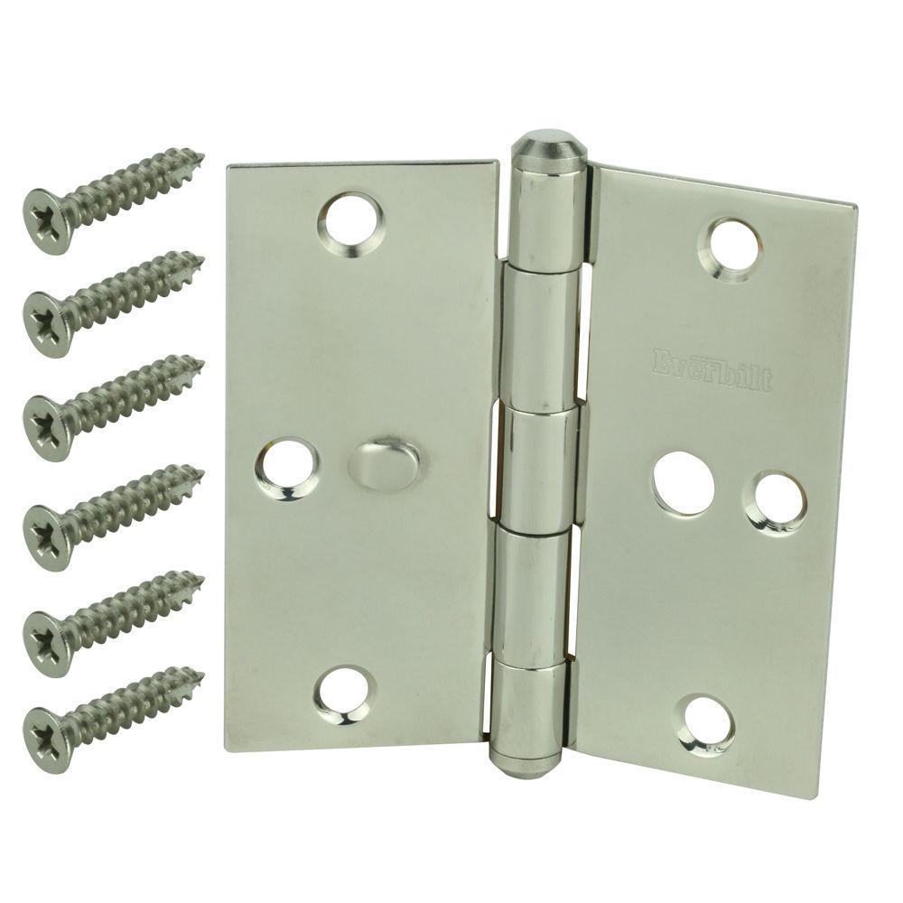 null 3-1/2 in. Satin Nickel 5/8 in. Radius Security Door Hinge-DISCONTINUED