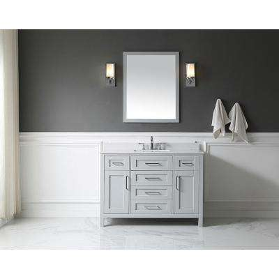 OVE Tahoe 48 in. W x 21 in. D Vanity in Dove Grey with Marble Vanity Top in White with White Basin and Mirror
