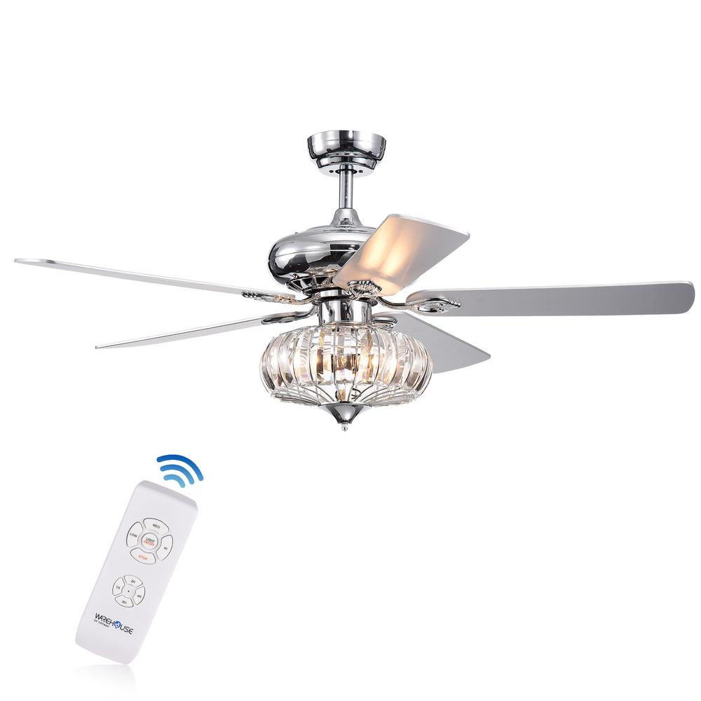 Warehouse of Tiffany Kyana DeBase 52 in. Indoor Chrome Remote Controlled Ceiling Fan with Light Kit