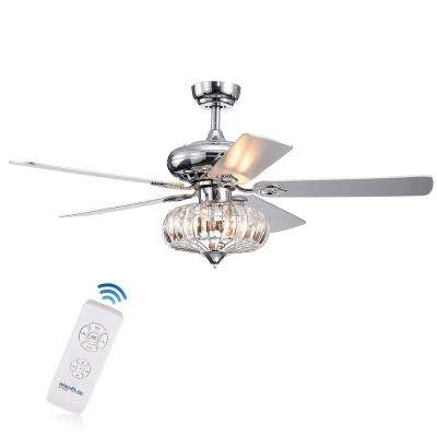 Kyana DeBase 52 in. Indoor Chrome Remote Controlled Ceiling Fan with Light Kit