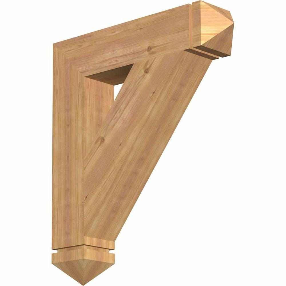 Ekena Millwork 5.5 in. x 32 in. x 28 in. Western Red Cedar Traditional Arts and Crafts Smooth Bracket