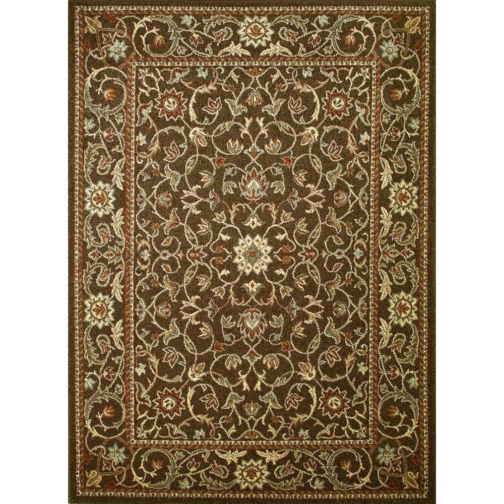 Concord Global Trading Chester Flora Brown 5 ft. 3 in. x 7 ft. 3 in. Area Rug