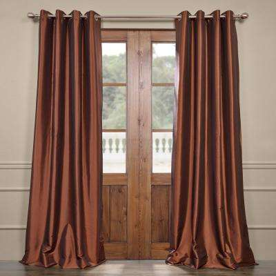 Copper Brown Grommet Blackout Faux Silk Taffeta Curtain - 50 in. W x 120 in. L