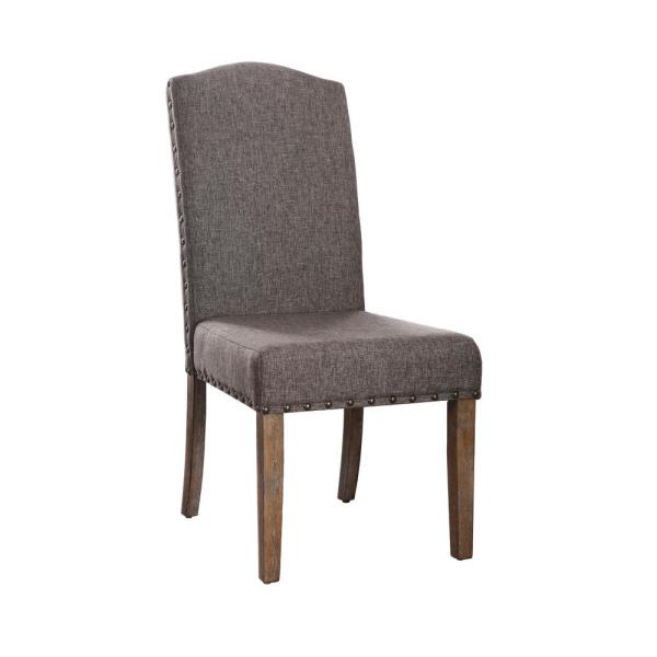 Furniture of America Helen Natural Fabric Nailhead Side Chair (Set of 2)