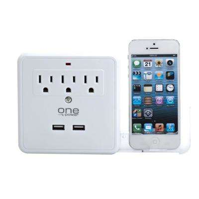 3-Outlet 2-USB Wall Tap Surge Protector with Dual Device Cradles